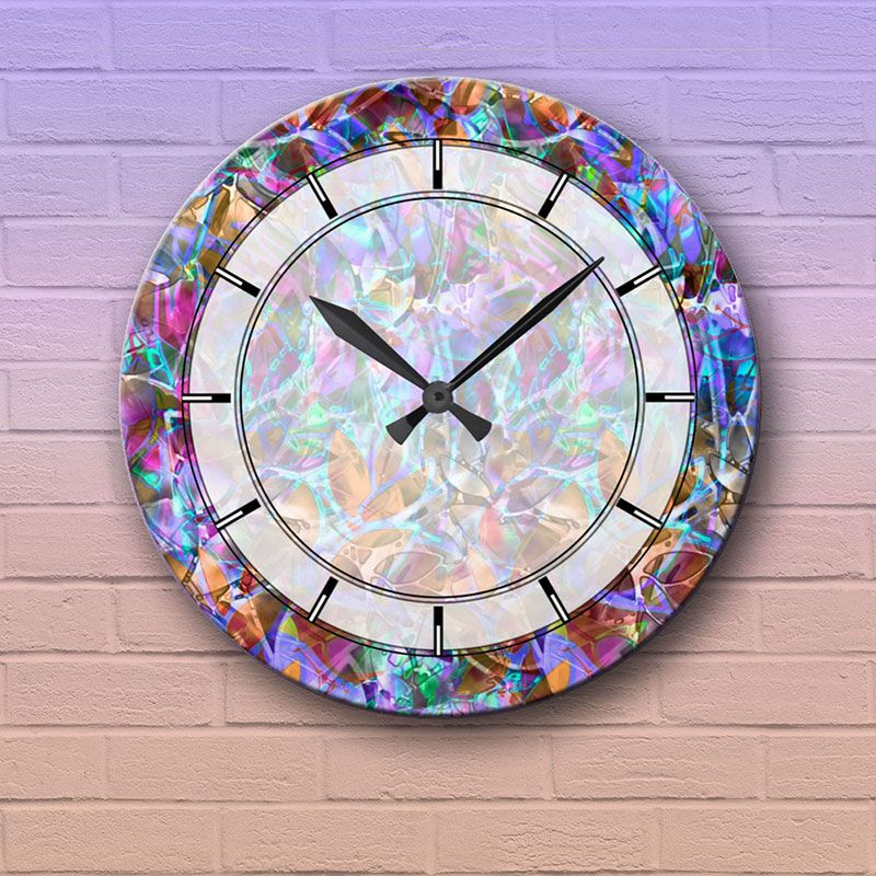 Wall Clock Floral Abstract Stained Glass Zazzle Com In 2020 Wall Clock Stained Glass Abstract Floral