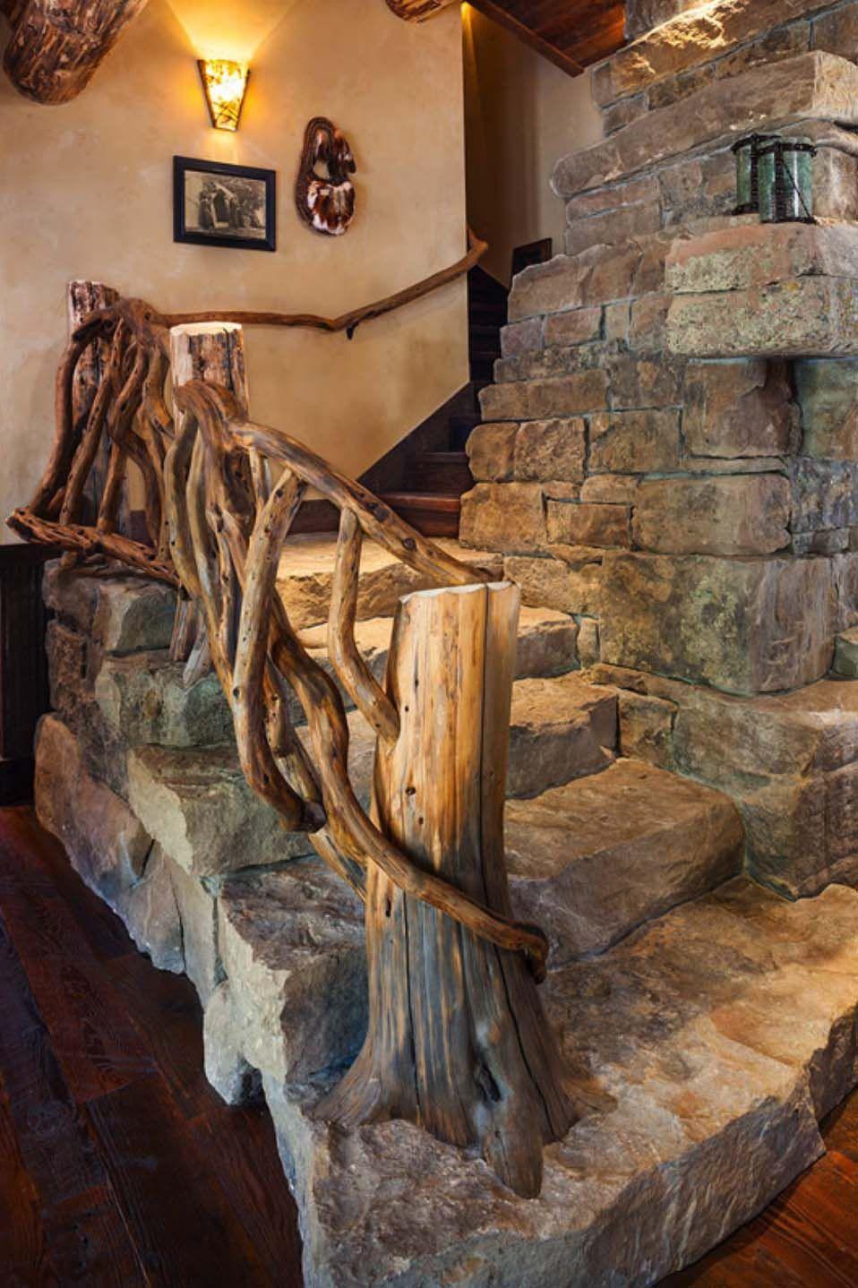 Rustic Log Cabin Luxury Defined In This Rocky Mountain Getaway - Escaleras-rusticas-de-interior
