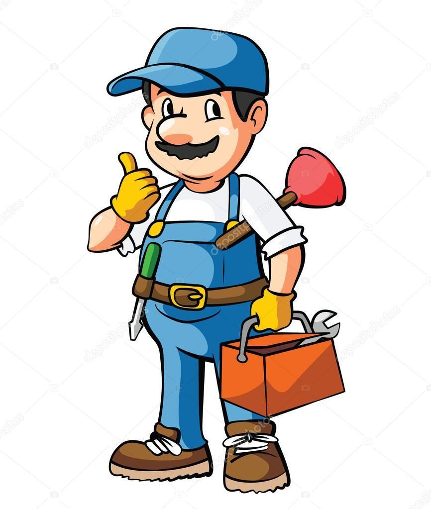 Personaje Fontanero Plomero Ilustraciones De Dibujos Animados Dibujos De Trabajadores Dibujos De Profesiones