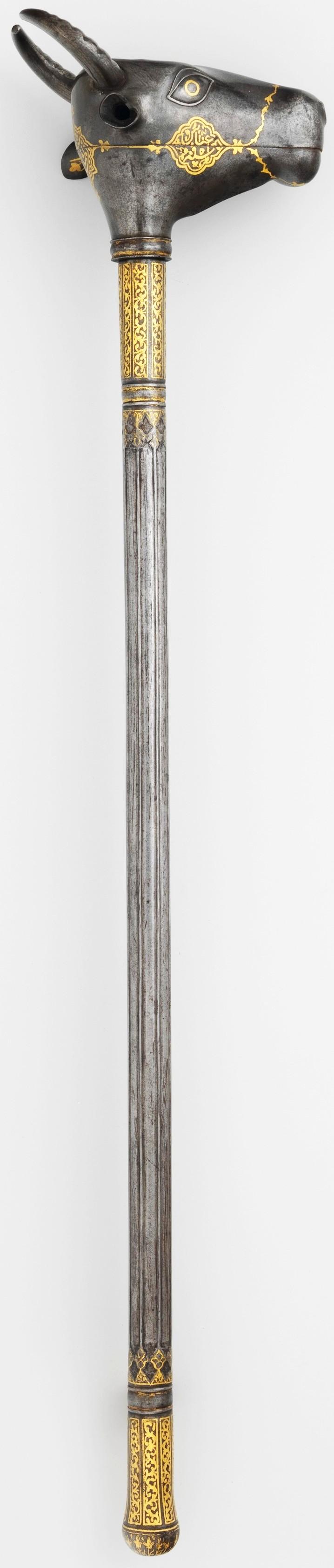 Persian mace, 17th century, steel, gold, L. 321/2 in. (82.6 cm), Met Museum, Bequest of George C. Stone, 1935.