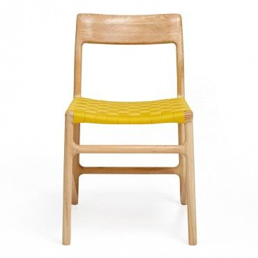 Cubist Yellow Oak Webbing Chair