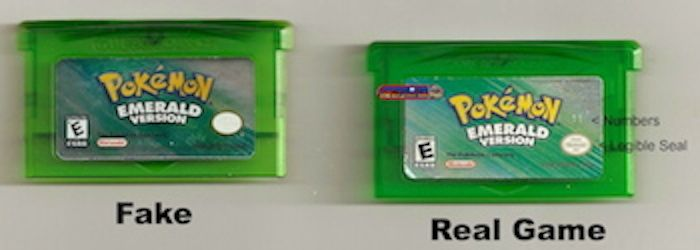 Looking at the Front of a fake and a real game: of GBA Pokemon Emerald Game
