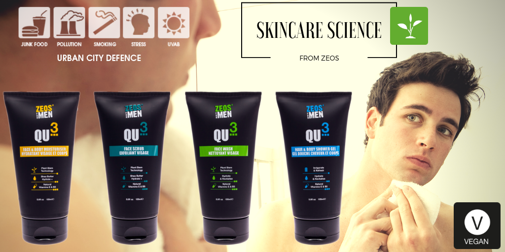 Zeos Qu3 Plantbased Skincare Technology Vegan Skincare Veganlife Beauty Technology Men Plants Blogger Antipoll Male Grooming Skin Care Mens Skin Care