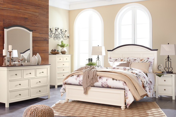 The Bonnet Top Mirror And Headboard Design Lend A Cottage Chic