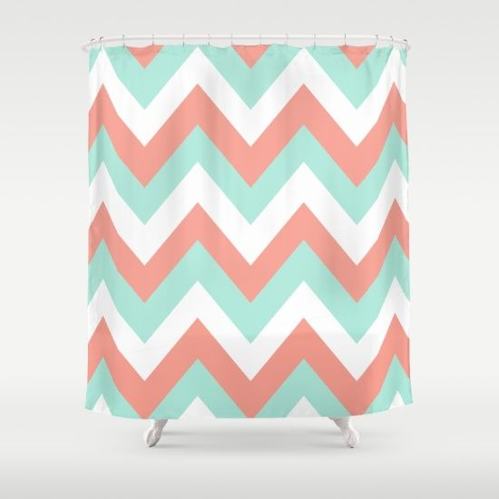 turquoise and coral shower curtain. MINT  CORAL CHEVRON Shower Curtain Paint updates Pinterest