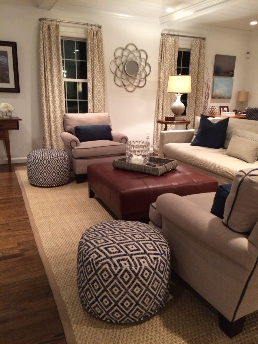 Neutral furniture welted in navy..family room seagrass rug