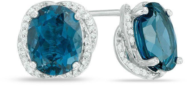 Zales Oval London Blue Topaz Stud Earrings in Sterling Silver 26I4CmhHB