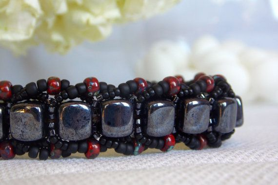 Hematite Flat Spiral with Picasso Beads by DezodDaughtersStudio