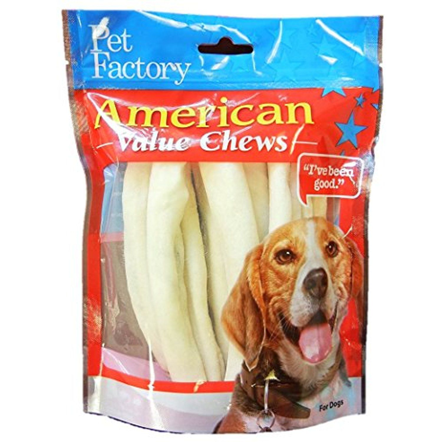 Pet Factory American Beef Hide Chip Rolls Chews For Dogs 8 Pack
