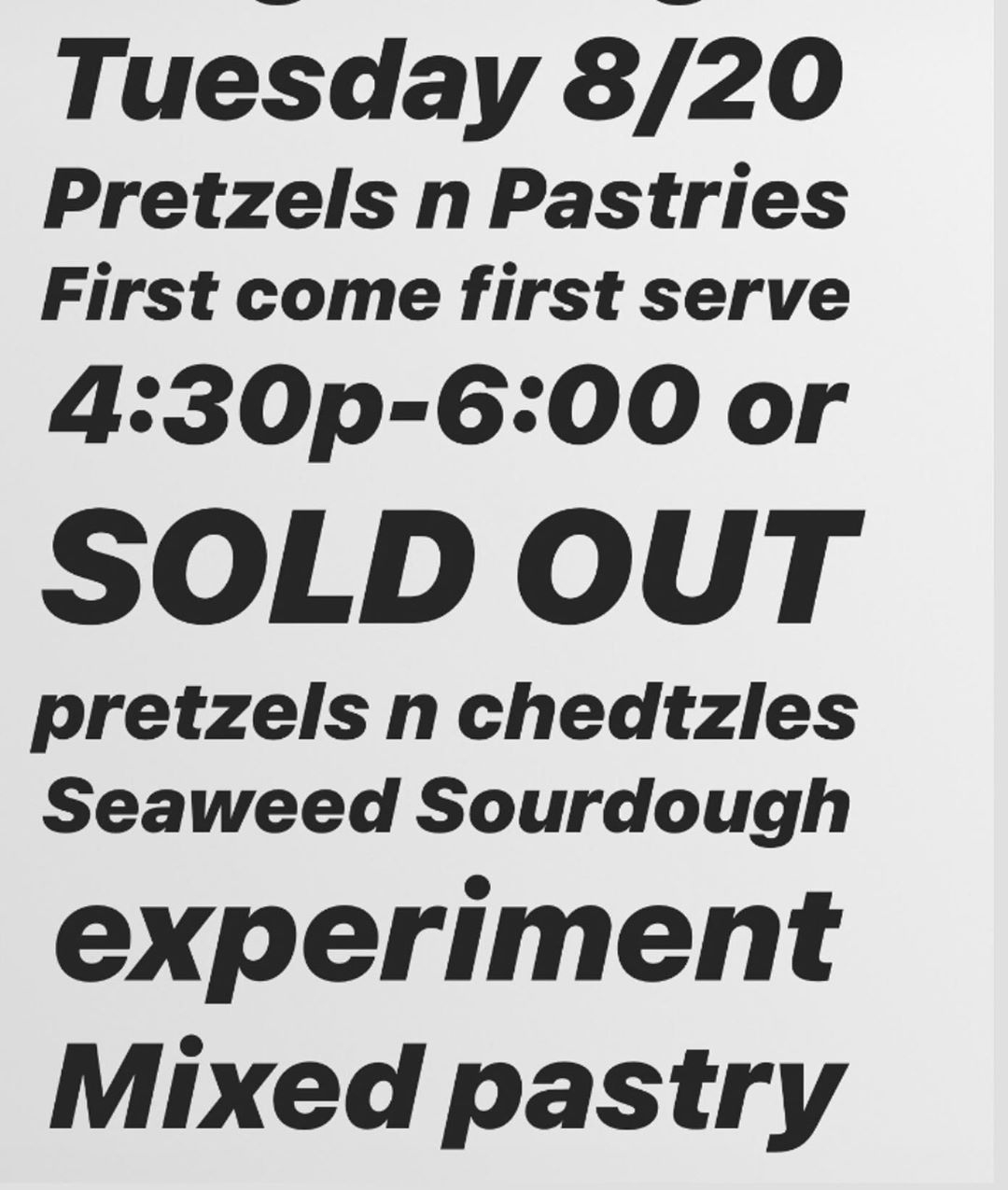 Tuesday 8/20  Pretzels, pastry, pizza (Focaccia) 4:30-6:00pm or sold out .  First come first serve Contact me for directions  No reservations necessary (all are welcome)  Who's gonna be here?  Pretzels, chedtzles, marinara focaccia, caramelized onion focaccia, cardamom buns, blueberry crumb cake, chocolate cigars, black n whites, pb stuffed cocoa%2 #cardamombuns Tuesday 8/20  Pretzels, pastry, pizza (Focaccia) 4:30-6:00pm or sold out .  First come first serve Contact me for directions  No rese #cardamombuns