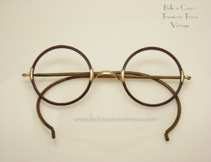 Photo of Antique 1920s Round Rim Windsor Celluloid Shuron Eye Glasses Frame