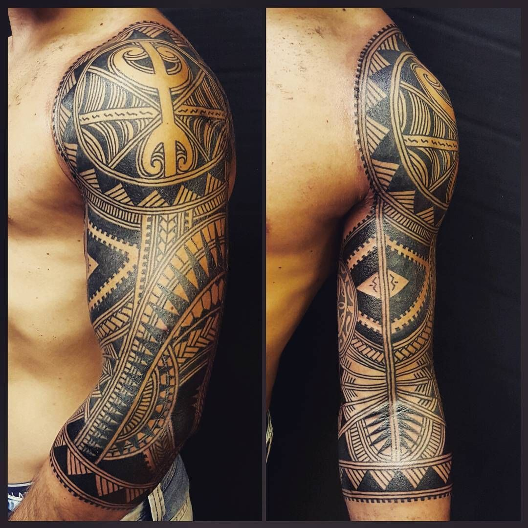 457915cc60cfd Finished this 3/4 sleeve today #contemporary #polynesian #maori #freehand #