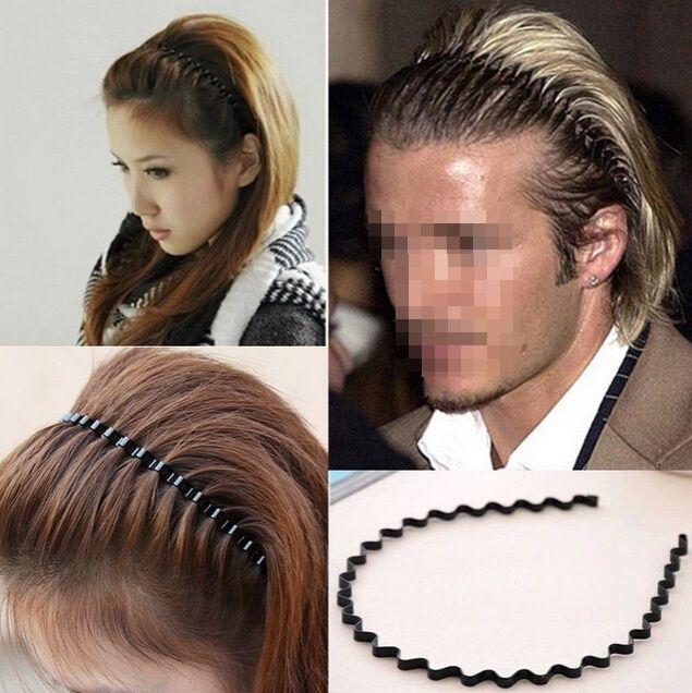 Headband Men Women Metal Wave Band Black Hairband Hoop Sports Hair Unisex