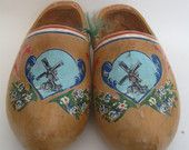 Large Wooden Dutch Shoes, hand painted