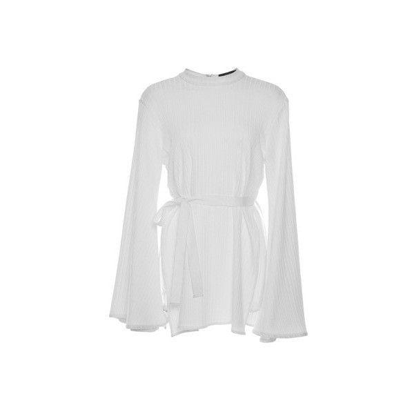 Ellery     Medusa Belted Mini Dress (2.795 BRL) ❤ liked on Polyvore featuring dresses, ellery, kleider, short dress, vestidos, mini dress, wrap style dress, wrap dress, flared sleeve dress and short dresses