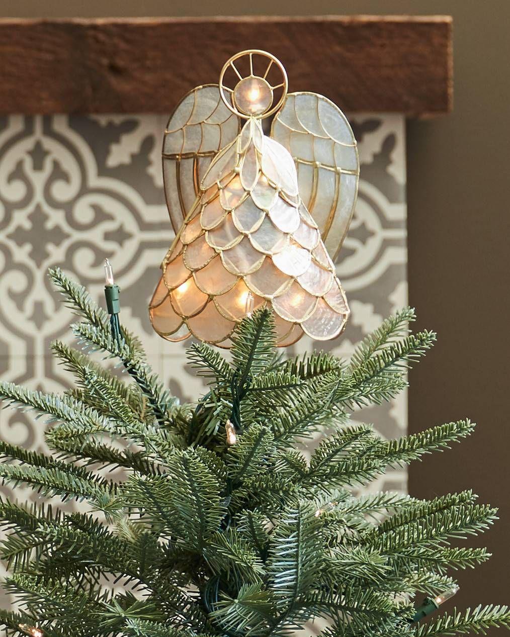 Small Angel Christmas Tree Topper: Capiz Angel Lighted Tree Topper