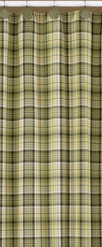 Oak Grove Green Brown Plaid Shower Curtain Rustic Country Lodge