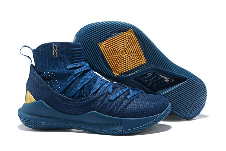 968c5cbb3b0 Buy Under Armour Curry 5 Shoes High Tops Navy Blue Gold in 2019 ...