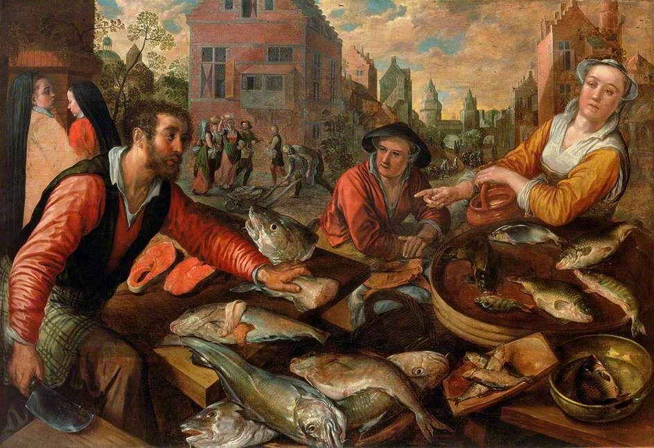 Joachim Beuckelaer Or Bueckelaer C 1530 1574 The Fish Market The Ferens Art Gallery Kingston Upon Hull Engla Golfinhos Historia Historia Da Moda