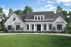 Plan 51770HZ OpenConcept Farmhouse with Bonus Over Garage