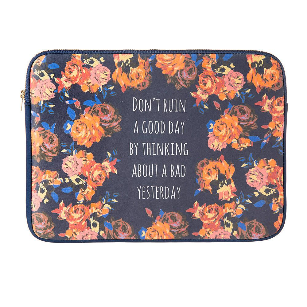Don't Ruin a Good Day Navy with Orange Floral Print Laptop Case
