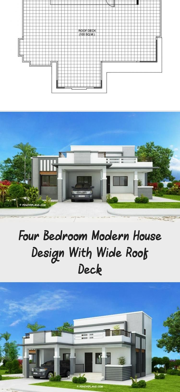 This four bedroom modern house design with roof deck has a total floor area of 1  This four bedroom modern house design with roof deck has a total floor area of 177 squar...
