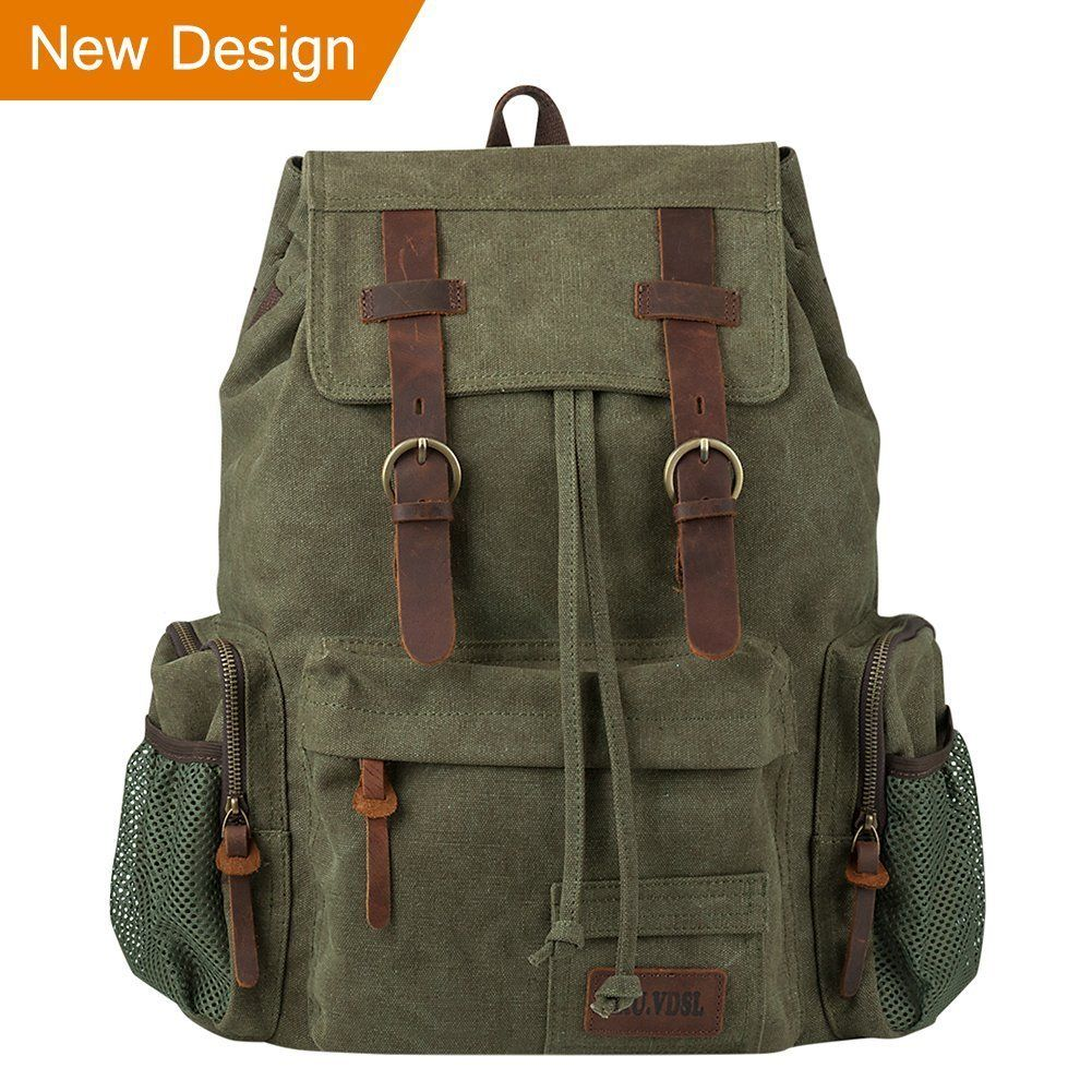 VDSL-AUGUR SERIES Vintage Canvas Leather Backpack ec4d8c48359cc