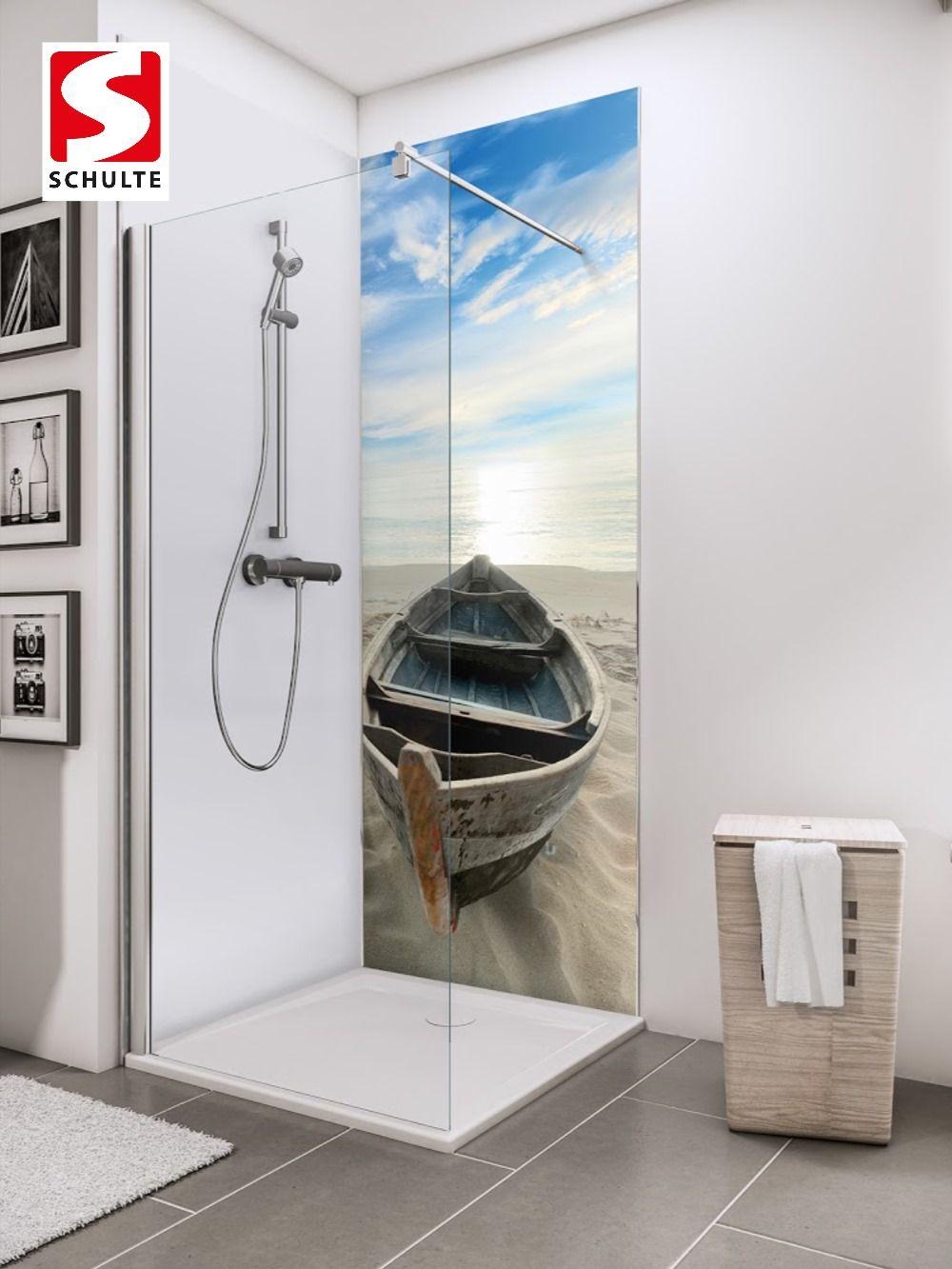 Schulte Duschruckwande Decodesign Foto Ruderboot Am Strand Paneel Wandverkleidung In 2020 Dusche Ruderboot Duschruckwand