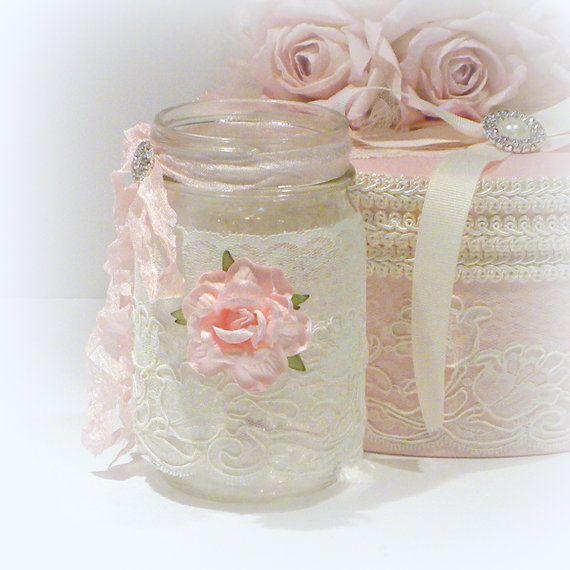 Mason Jar Lace Mason Jar Shabby Chic Jar Jar Candle Candle Etsy Shabby Chic Vases Shabby Chic Crafts Projects Shabby Chic Jars