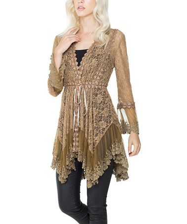 Loving this Taupe Lace Handkerchief Top on #zulily! #zulilyfinds