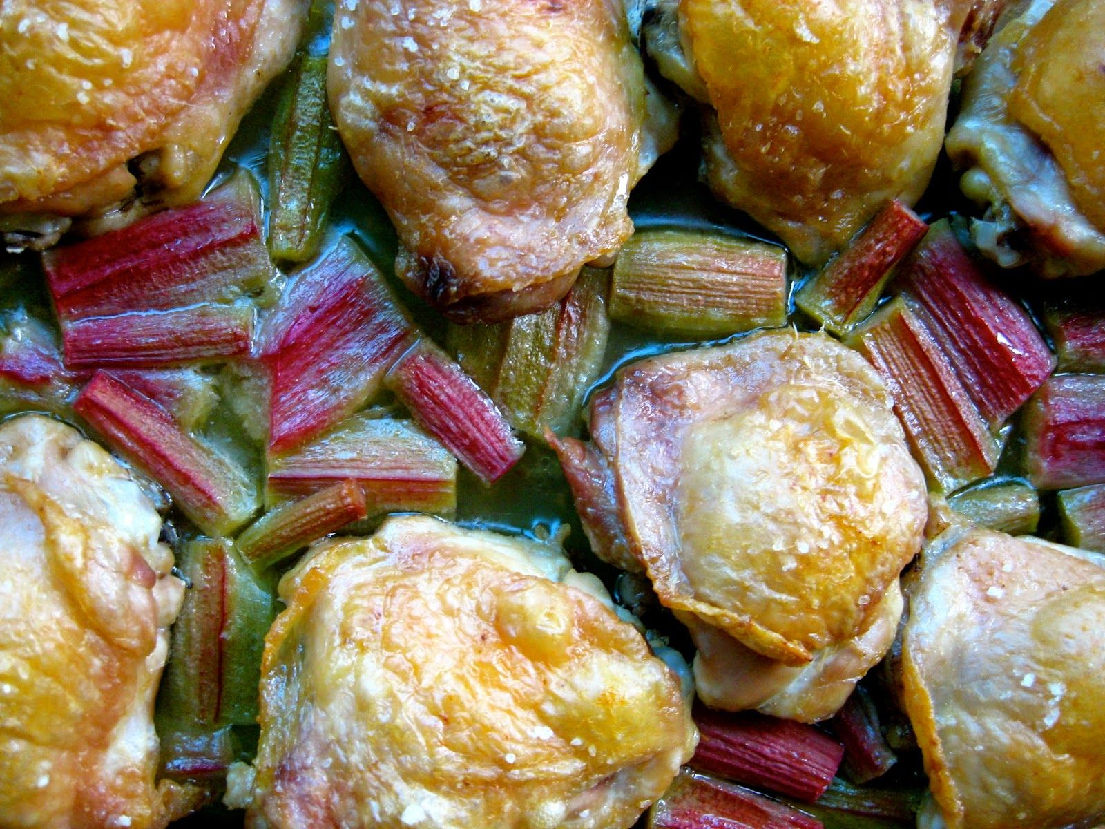 Chicken with Roasted Rhubarb Sauce