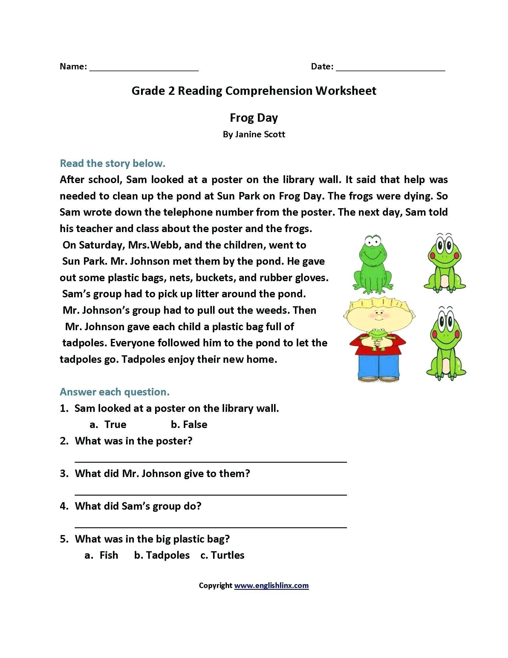 4 Worksheet Reading Comprehension Worksheets Second Grad
