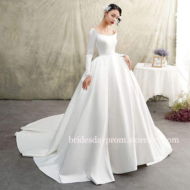 Elegant Ball Gown White Wedding Gowns 2019 Long Sleeve Princess Wedding Dresses Plus Size Long Sleeve Princess Wedding Dresses Winter Wedding Dress Ball Gowns Wedding