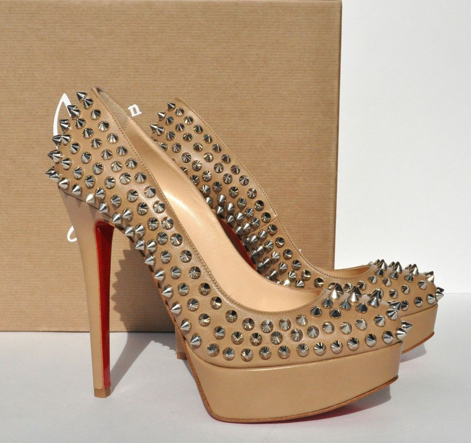 wholesale dealer 950f8 bb31a NEW CHRISTIAN LOUBOUTIN BIANCA SPIKES 140 NUDE / BEIGE ...