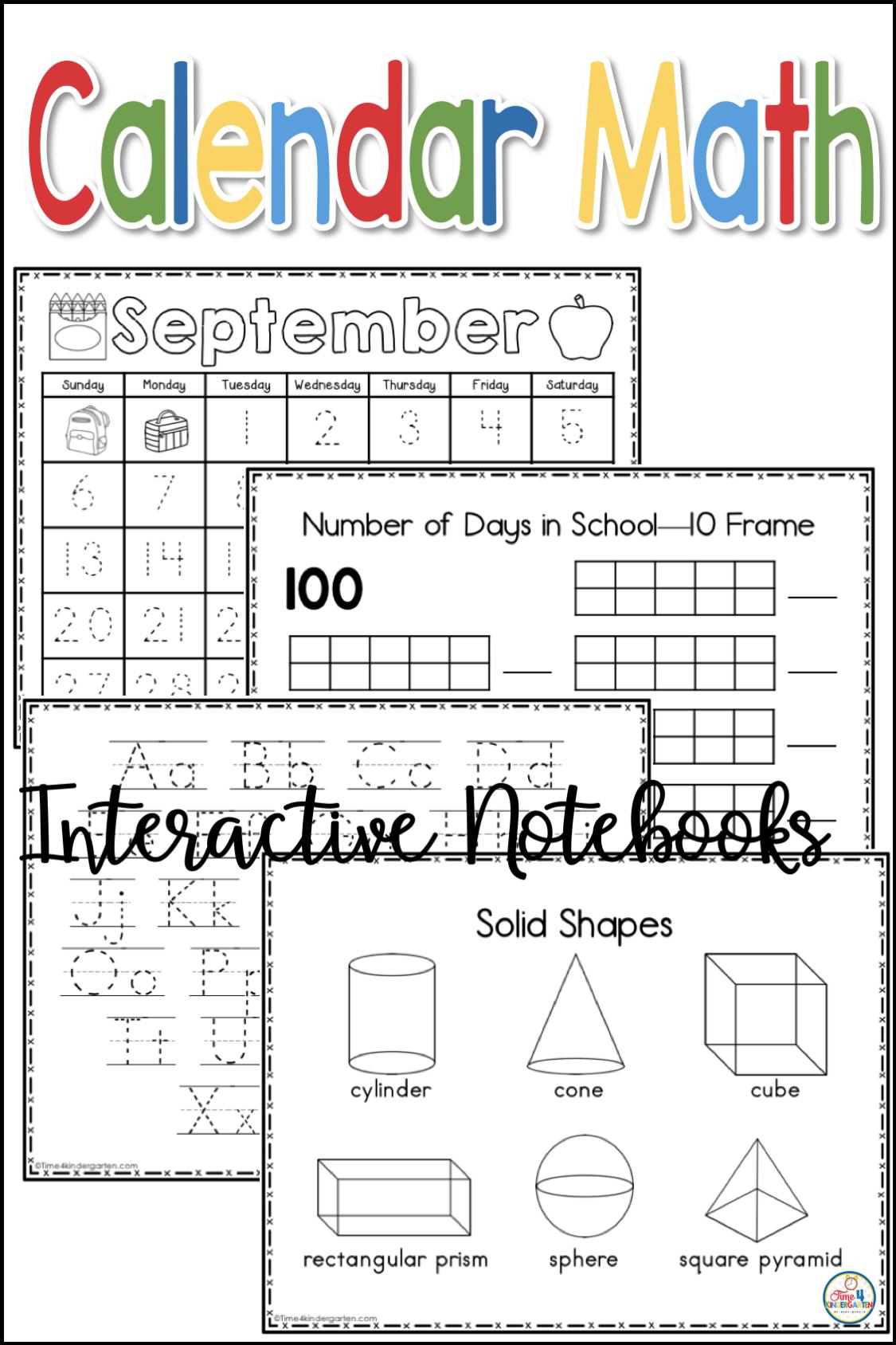 Interactive Calendar Notebooks For Kindergarten And First