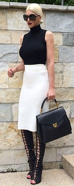 #fall #blackandwhite #outfit #ideas | Sleeveless Turtleneck + White Midi Skirt