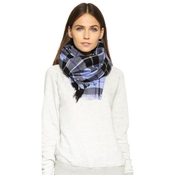Kate Spade New York Woodland Plaid Oblong Scarf (€120) ❤ liked on Polyvore featuring accessories, scarves, pale aster, plaid shawl, long scarves, oblong scarves, kate spade scarves and tartan scarves