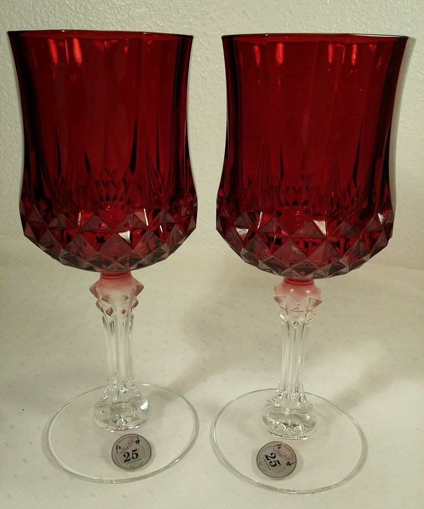 25th Anniversary Cristal Arques Ruby Red Crystal Stem Wine Glasses Arques Anniversary Set Red Water