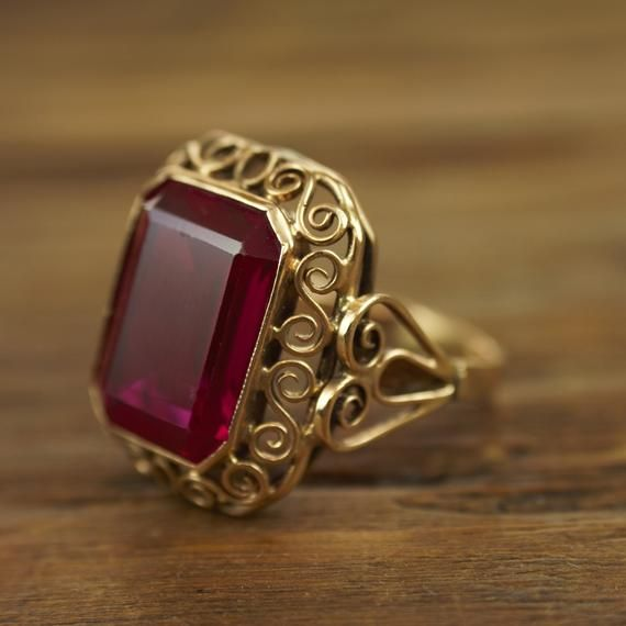 Victorian Revival Hand Crafted 12 Carat Ruby Ring Poland 14k Image 1 Ruby Ring Designs Gold Ring Designs Gold Jewelry Fashion