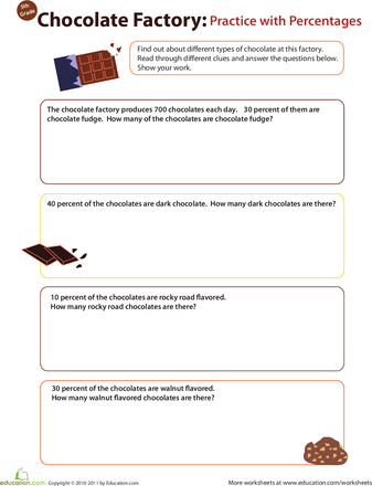 Finding Percents Chocolate Factory Worksheet Education Com Decimals Fractions Chocolate Factory