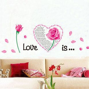 Find More Wall Stickers Information about Pink Flower Heart Love Quotes Wall Stickers Vinyl Mural Art Decals Home Decor,High Quality art design decor,China decals home decor Suppliers, Cheap art wall from Dafa Home Decoration on Aliexpress.com
