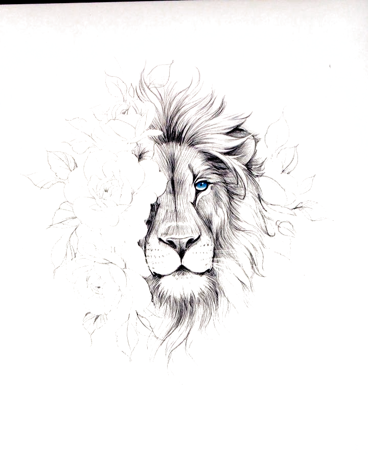 "Olga Koroleva บน Instagram: ""💙 new sketches 💙 #tattooartist #tattoomoscow #russiatattoo #graphictattoo #wowtattoo #rosetattoos #colortattoo #ink #flowertattoo…"" #lion tattoo"