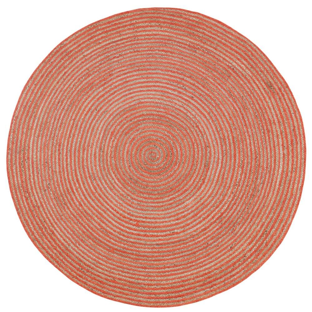 Earth First Jute And Orange Cotton Racetrack 3 Ft X 3 Ft Round