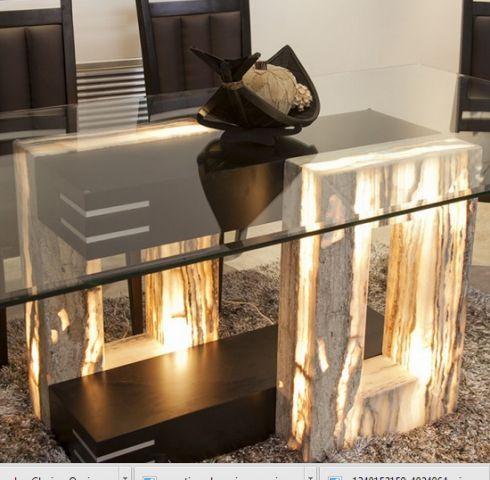 Base de mesa en piedra onix combinada con partes de madera - Mesas de marmol y cristal ...
