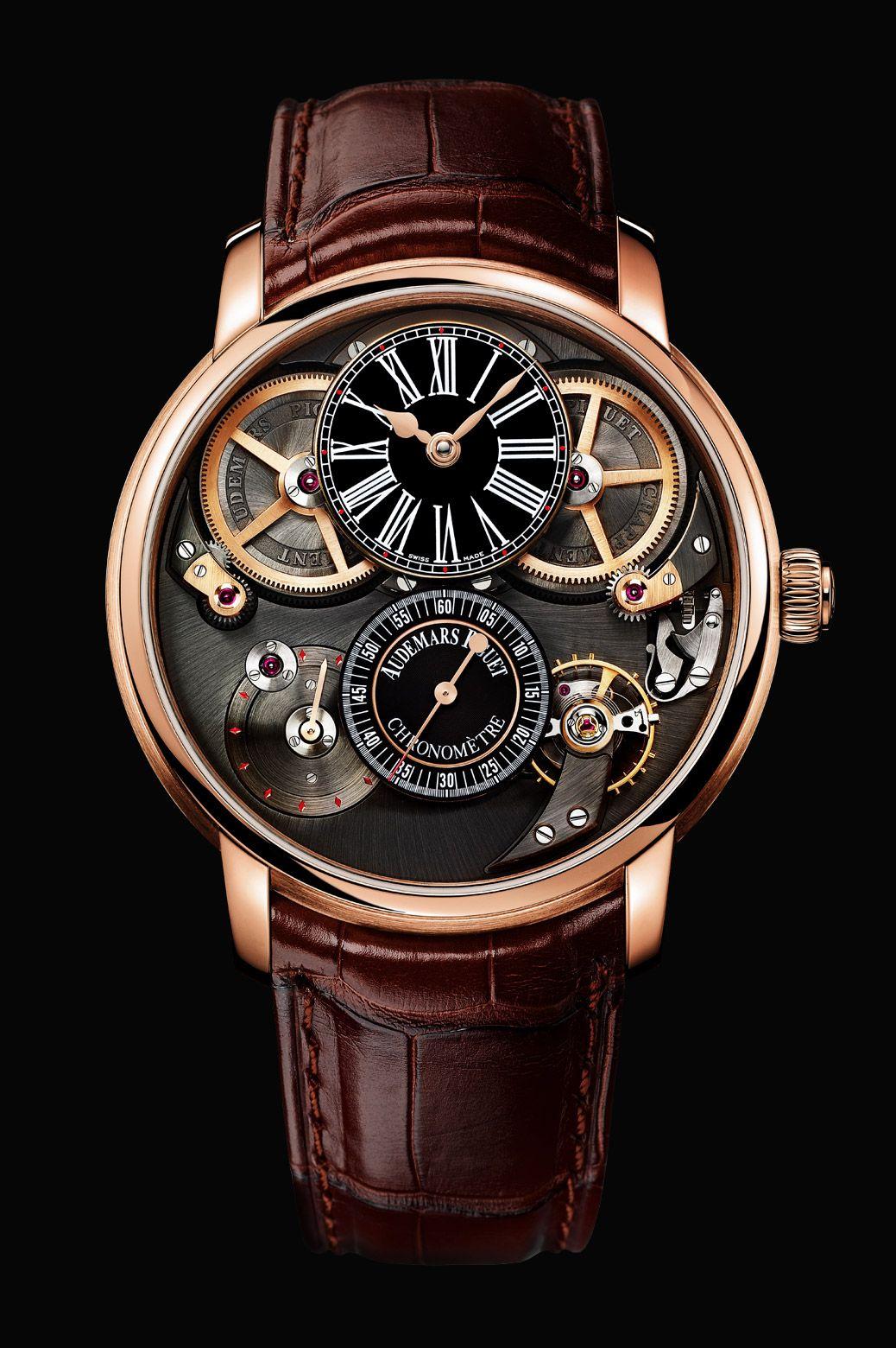 Audemars Piguet's Jules Audemars Chronometer Watch with croco strap and pink gold case.  Price: 167,180.00 €
