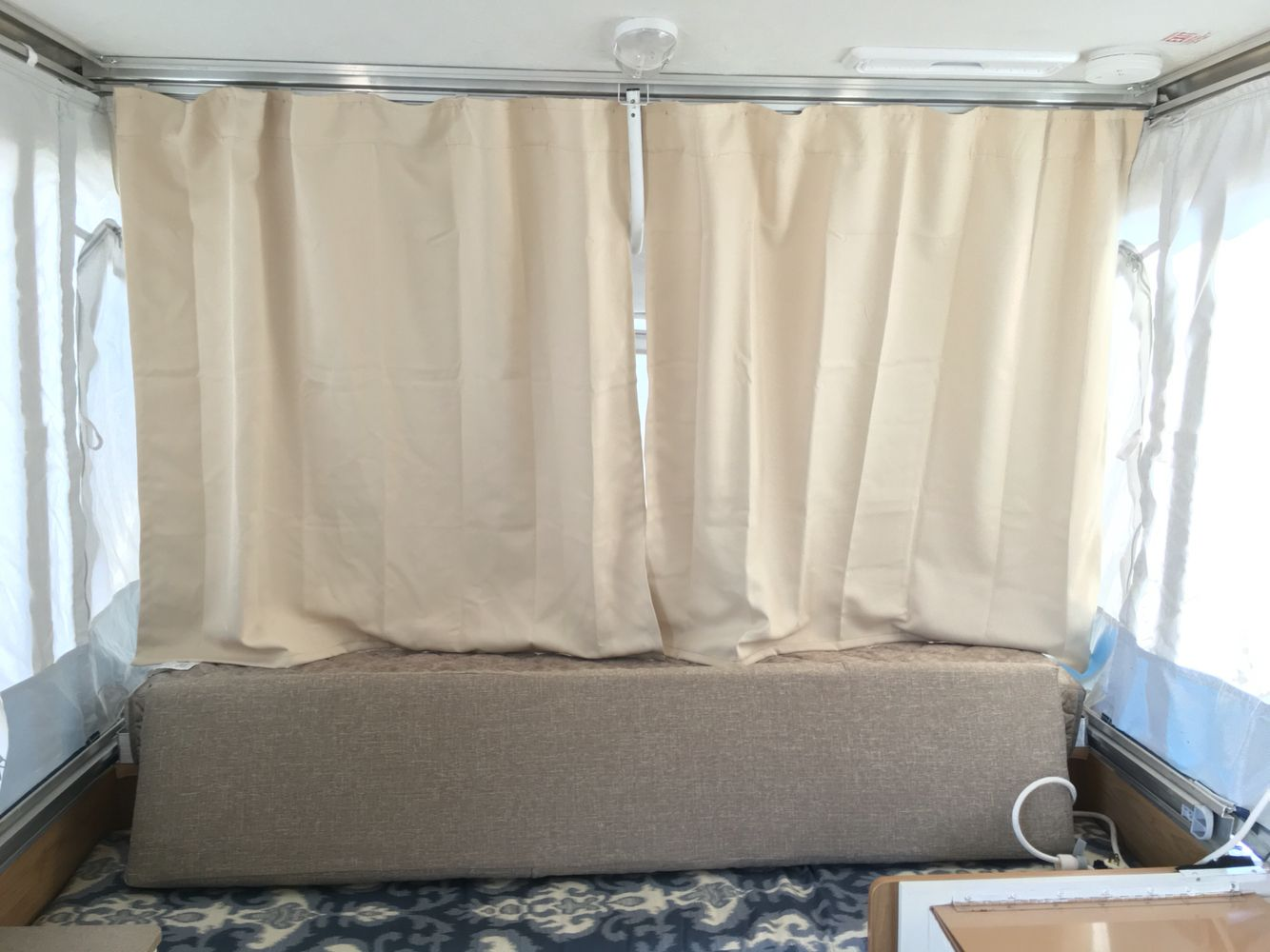 New Curtains For The Pop Up Camper Repurposed Premade Blackout