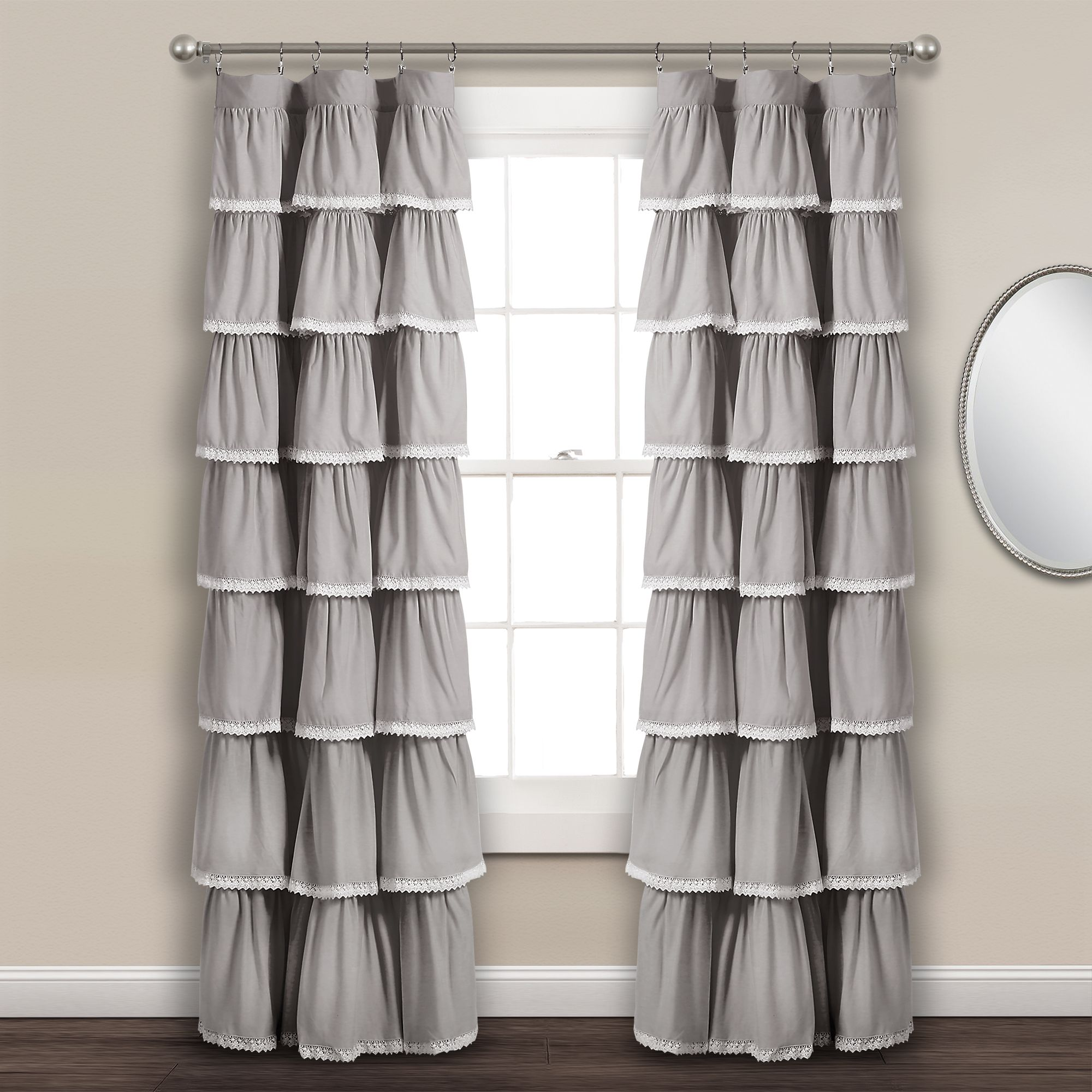 Home In 2020 Ruffle Curtains Panel Curtains Lace Curtain Panels
