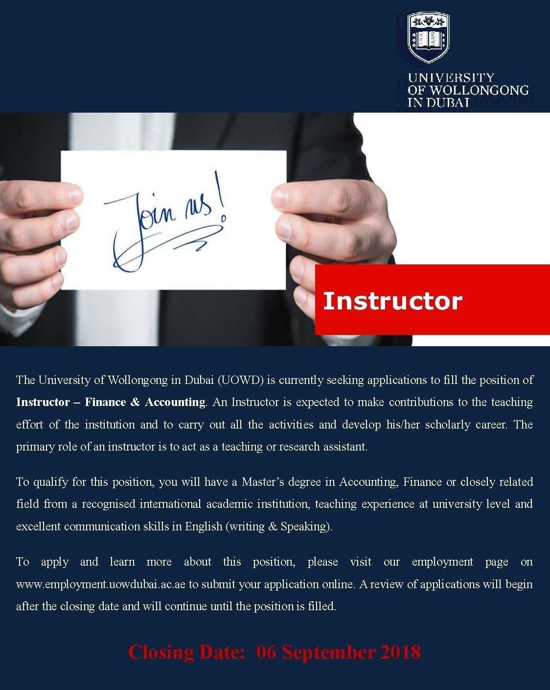 Instructor (Finance & Accounting) Dubai Job Openings Job