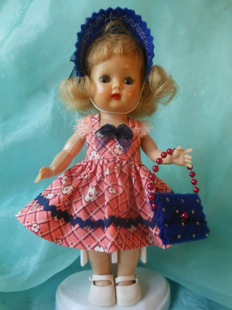 SHOPPING WITH MOTHER, dress,purse,hat, fits Ginny, Muffie, all 7 to 8 in. dolls.