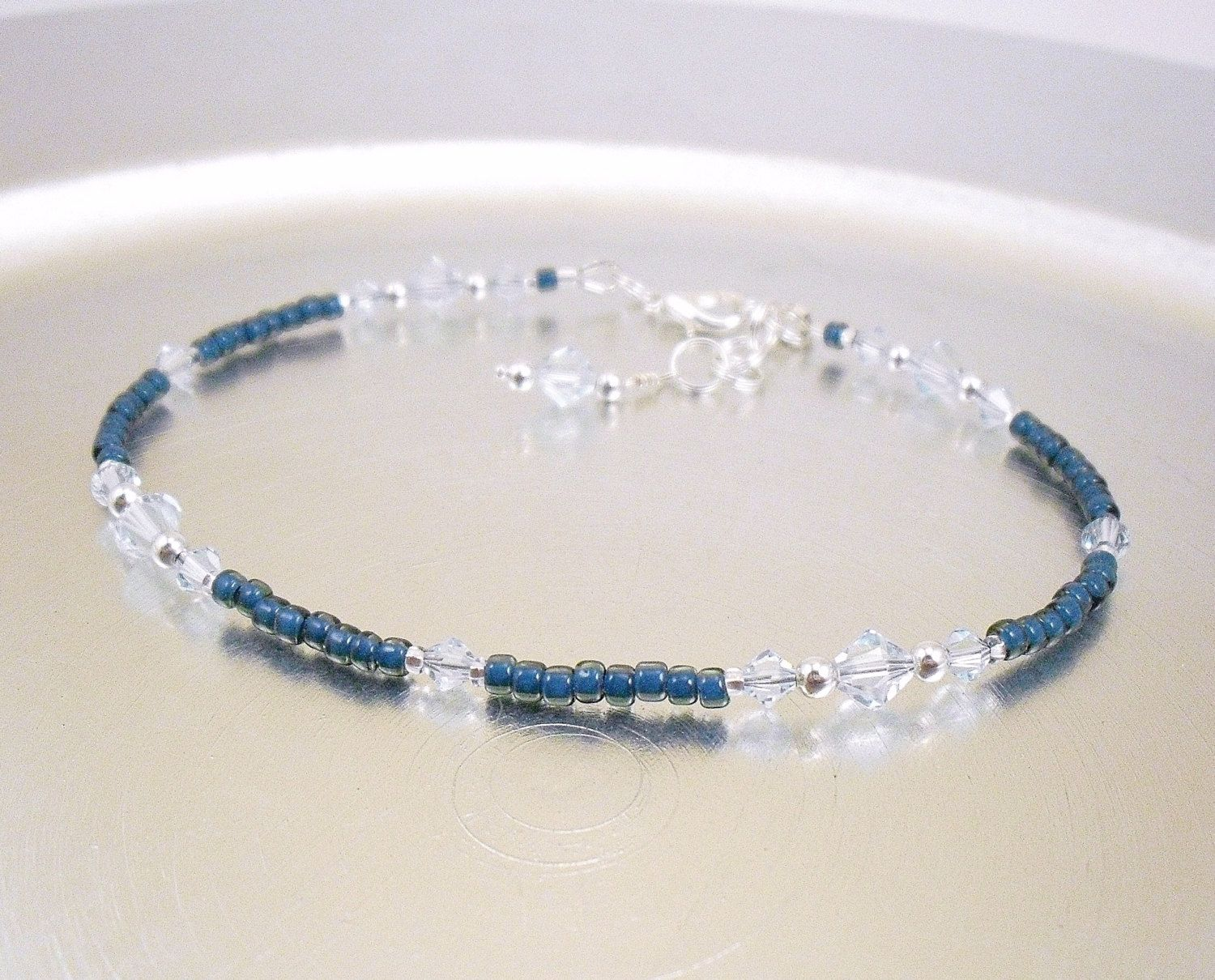 Light azore swarovski crystal and dark blue glass ankle bracelet